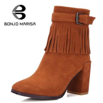 BONJOMARISA Genuine Leather High Heels Bohemia Fringe Boots Sexy Girls Dress Shoes Tas