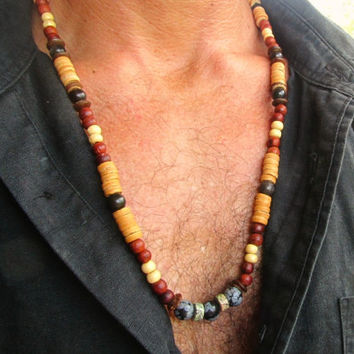 Men's Long Beaded Necklace with Obsidian, Quart & Turquoise Mala Style / Surfer Hippie Meditation Festival Travel Necklace / Men's Jewelry