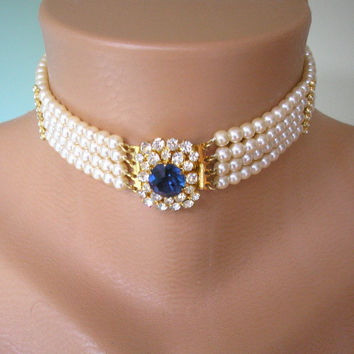 Great Gatsby Jewelry, Art Deco Jewelry, Downton Abbey Jewelry, Wedding Jewelry, Sapphire Choker, Pearl And Rhinestone Choker, Bridal Jewelry