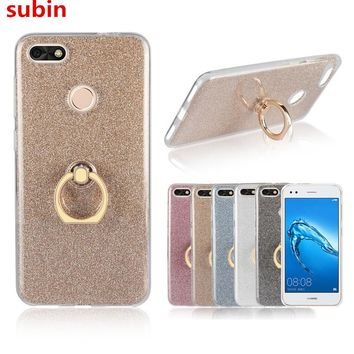 For Huawei P9 Lite Mini Case 5.0 inch Flash powder 3D Relief Silicone Soft For Huawei P9 Lite Mini Cover TPU With Ring Phone Bag