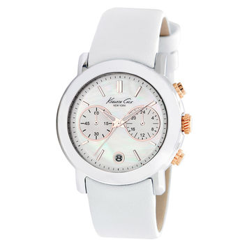 Kenneth Cole KC2688 Women's New York Natural MOP Dial White Leather Strap Watch