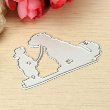 Carbon Steel Boy With Dog Dies Template DIY Scrapbooking Album Paper Card Embossing Decorative Crafts Accessories