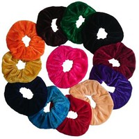 Aadya's SET of 12 Velvet Hair Scrunchies Elastic Scrunchy Hair Bobbles In 3 Different Size (Small, Large, Jumbo) (Large(11CM))