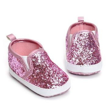 PEAPON First Walkers Girls Shoe Newborn Toddler Crib Shoes Soft Sole Anti-slip Baby Sneakers Sequins Bling Bling Shoes bebek ayakkabi