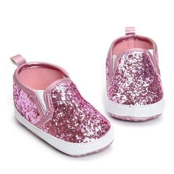MDIGON First Walkers Girls Shoe Newborn Toddler Crib Shoes Soft Sole Anti-slip Baby Sneakers Sequins Bling Bling Shoes bebek ayakkabi