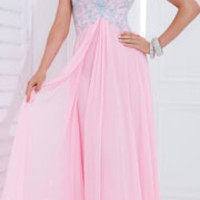 (PRE-ORDER) Tony Bowls 2014 Prom Dresses - Light Pink w/ Blue Floral Lace Strapless Breakaway Gown
