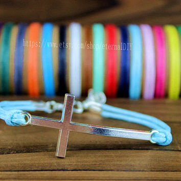 Discount 50% -  choice of copper and silver cross bracelet, wax rope bracelet for friends for boys girl friend