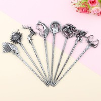 8 Types Game Of Thrones House Stark Wolf Logo Hair Sticks Hairpin Women Hair Accessories Vintage Hair Pin Stick Punk Jewelry