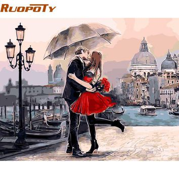 RUOPOTY Romantic Kiss Lover DIY Painting By Numbers Landscape Large Oil Painting Modern Wall Art
