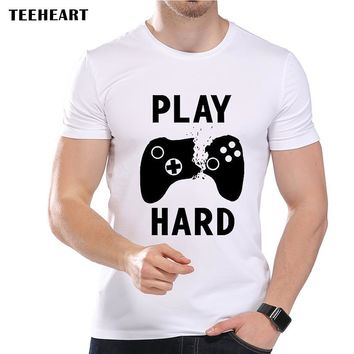 TEEHEART Men's Retro Games Play Hard  Print T-Shirt Cool Summer Modal  Vintage Broken Game Consoles Hipster Top Tees la358