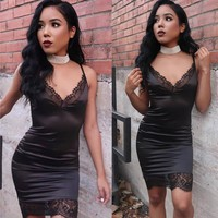 Spaghetti Straps Pure Color Bodycon Lace Patchwork Short Dress