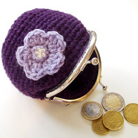 Coin purse purple metal frame crochet lilac flower rhinestone bead silver tone kiss clasp women accessories gift for her christmas gift