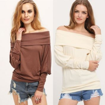 Large Size  Bat Sleeve Strapless Sweater Shirt B0013936