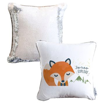 Foxes EXPLORE Mermaid Pillow w/ Silver & White Sequins - COVER ONLY (Inserts Sold Separately)