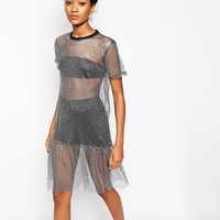 The Ragged Priest Metallic Sheer Mesh T-Shirt Dress With Peplum Hem at asos.com