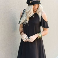 Cold Shoulder Flutter Sleeve Dress