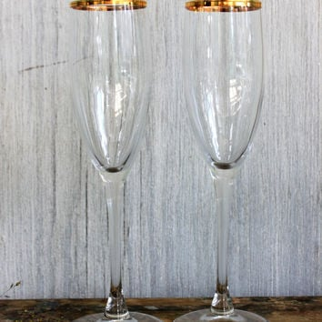 pair of vintage champagne flutes // gold rimmed // retro barware