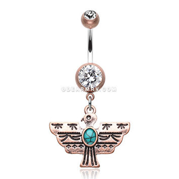 Vintage Boho Aztec Thunderbird Mural Belly Button Ring (Copper/Clear/Turquoise)