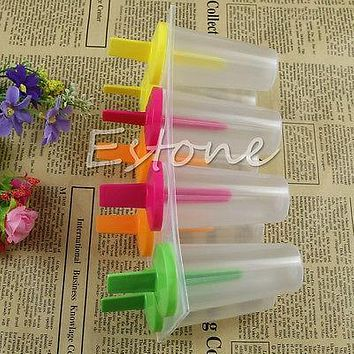 8 Cell Ice Cream Lolly Mould Maker Tray Pan Kitchen Frozen Pop Popsicle Mold New
