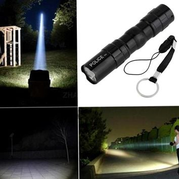 Lover-Beauty 3W Waterproof Super Bright LED Flashlight Focus Torch Lamp With Hand Strap