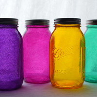 """Stained Glass Mason Jars - Quart Size, Set of 4, """"Mixed Jewels"""" color set"""