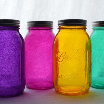 "Stained Glass Mason Jars - Quart Size, Set of 4, ""Mixed Jewels"" color set"