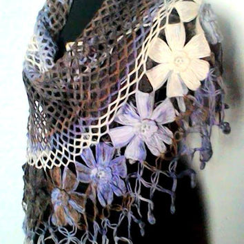 Crochet Flower Shawl Triangle Shawl Scarf  Shoulder Wrap Lilac to Purple Shades Women Clothing Accessories Wedding Shawl