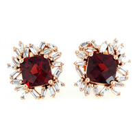 18k Rose Gold 0.42ct TDW Baguette Cut Diamond and 2.7ct TGW Red Garnet Gemstone Stud Earrings
