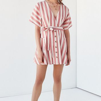 Moon River Striped Wrap Dress | Urban Outfitters