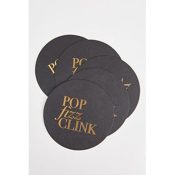 Pop Fizz Clink Gold Foil Party Coasters