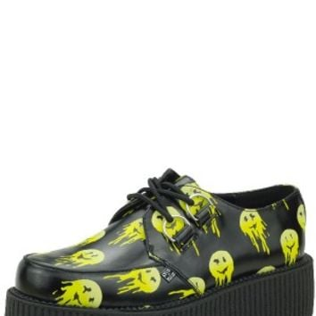 Black Leather Melted Smiley Face Viva Mondo Creepers