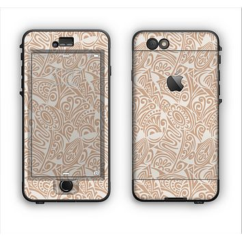 The Tan Abstract Vector Pattern Apple iPhone 6 Plus LifeProof Nuud Case Skin Set