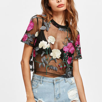 Flower Embroidered Mesh Top | MakeMeChic.COM