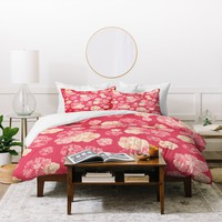Lisa Argyropoulos Blossoms On Coral Duvet Cover