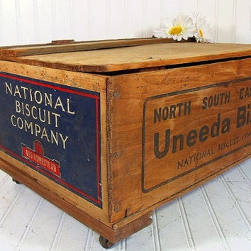 Vintage Uneeda Biscuit Wooden Crate Storage Box on Wheels - Industrial Advertising Rustic Rolling Shipping Container - Hinged Treasure Chest