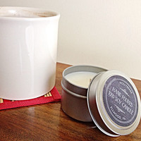 Soy scented candle cinnamon hazelnut coffee aluminum container red Valentine's Day gift for her hand made bridesmaids gift hostess gift