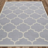 Ottomanson Paterson Collection Grey Contemporary Moroccan Trellis Design Lattice Area Rug