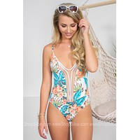 Tropical White One Piece Swimsuit
