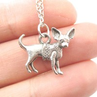 Detailed Chihuahua Toy Puppy Dog in A Sweater Shaped Charm Necklace | MADE IN USA