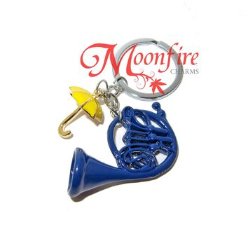 HOW I MET YOUR MOTHER Blue French Horn and Yellow Umbrella Keychain