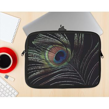 The Dark Peacock Spread Ink-Fuzed NeoPrene MacBook Laptop Sleeve