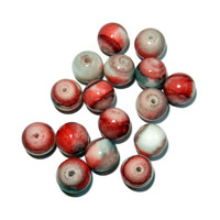 Red, Black and White Marbled 12 mm Glass Beads