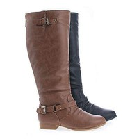 Coco1 By Top Moda, Knee High Ankle Harness Zip Up Riding Boots