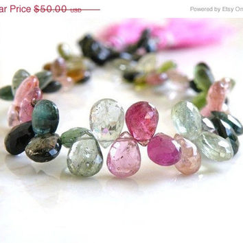 31% Off Sale Tourmaline Gemstone Briolette Multi Green Pink Faceted Teardrop Top Drilled 7 to 8mm 22beads Wholesale