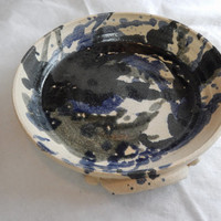 Hand Thrown Blue and Tan Serving Dish From Wisconsin