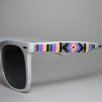beaded sunglasses tribal design xl wayfarers
