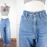 1980s High Waisted Jeans / Light Blue Denim Jeans / Vintage 80s Boyfriend Jeans / Relaxed Fit Jeans / Faded Denim Jeans / 1990s Mom Jeans
