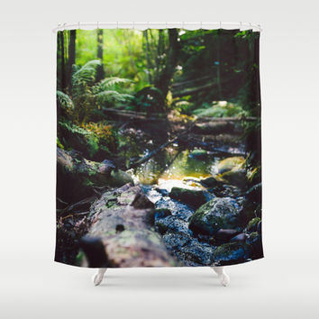 Logged on Shower Curtain by HappyMelvin