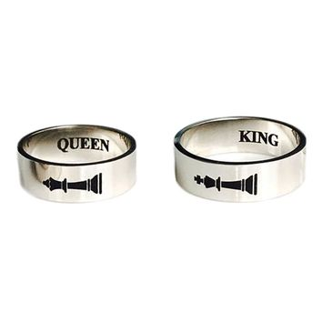 Lover Design King Queen Couple Ring Go King King Sign Ring