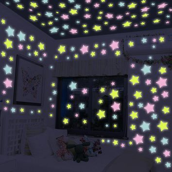 100pcs/bag 3cm Luminous Toys Star Stickers Glow In The Dark Fluorescent Sticker Painting Toys For Children Colorful Bedroom Home